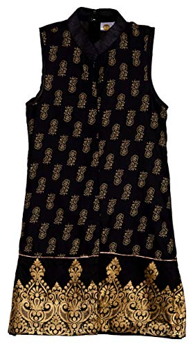 KU-Girls-Designer-Premium-Quality-Black-Front-Open-Kurti-Best-wear-for-Kids-Fancy-Dress-Indian-Festivals--Rakhi-Dushhera-and-Diwali-Theme-Parties-and-Indian-Puja-Ceremonies