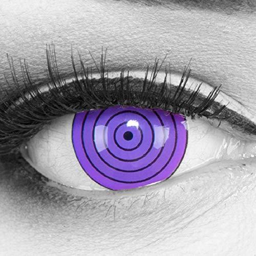 Meralens 1 Paar Farbige Anime Manga Kontaktlinsen Ohne Stärke mit gratis Kontaktlinsenbehälter - Sharingan Violet Rinnegan in lila perfekt zu Hereos of Cosplay Naruto Halloween 12 - Naruto Halloween