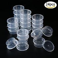 Contenedor de Limo,niceEshop(TM) Vasos de Almacenamiento de Plástico de Bola de Espuma Reutilizable con Tapas para Pegamento / Agua / Cosmético / Plastilina, 24 Piezas, 20 G / 0.7 Oz