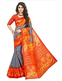 Fabwomen Sarees Floral Print Multicolor And Orange Coloured Cotton Silk With Zari Border Fashion Casual Wear Women's...