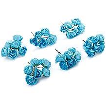 Mini hecha a mano artificial flor de papel para decoración de la boda DIY corona regalo scrapbooking Craft Fake flor, azul oscuro, 144Pcs