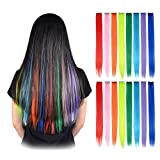 FESHFEN 16 Pcs 8 Colors Straight Clip in Hair Extensions Hair Pieces for Kids Grils 20 Inch Long Hair Colored Party Highlights DIY Hair Accessories Extensions