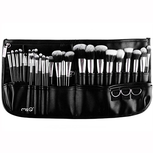 MSQ Makeup Brushes Set 29pcs Professional Cosmetics Brushes with Belt Waist Makeup Bag (Foundation, Powder, Creams, Liquids & Eye Brushes) for Women/Girls/Artists/Holiday gifts/travel
