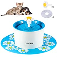 Silent Pet Fountain Auto Circulating 1.6L with 3 Filters 2 Daisy 1 Silicone Mat for Dogs and Cats Water Dispenser BPA Free Indoor Drinking Water Fountains,Blue