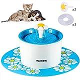 Animale domestico Distributore di Acqua, fontanella automatico per Gatti cani e uccelli, con 3 filtri 2 fiori ugelli in silicone 1 tazze distributore di acqua pet mat BPA libero, 1.6L (Blu e bianco) immagine