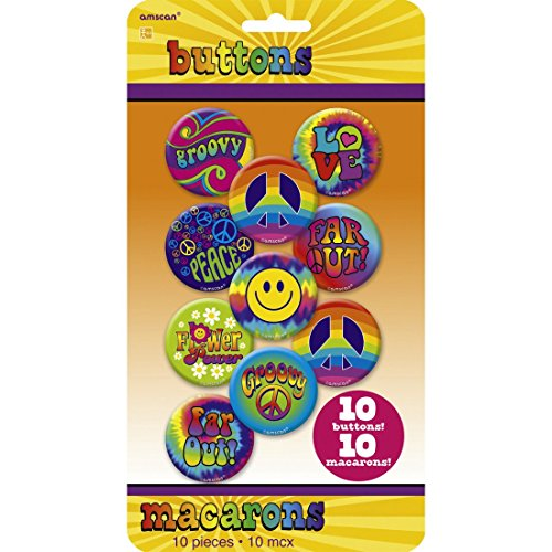 NET TOYS 10 Stk. Hippie Buttons 60er Jahre Anstecker 70er Jahre Pins Flower Power Anstecknadel Retro Badge