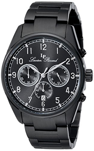 Lucien Piccard 10588-BB-11-SA 42mm Ion Plated Stainless Steel Case Black Steel Bracelet Sapphire Crystal Men's Watch