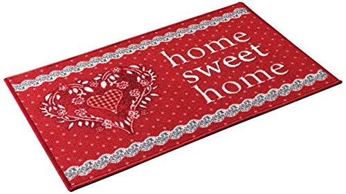 Déco Tapis Tapis Déco Rectangle, Polyester, Rouge, 50x120 cm