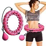 MOSRACY Hula-Hoop-Reifen Fitnessreifen Massage Hula Hoop Hula Hoop, der Nicht fällt Yoga Fitness Gewichtsverlust Artefakt Sportausrüstung Geeignet für Erwachsene und Kinder (Pink + Trägheitskugel)
