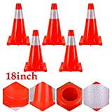 """OUKANING 5x18""""Traffic Cone Collapsible Road Parking Cones Safety Construction Cones Emergency"""