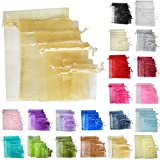 TtS 100pcs 15x20cm Organza Gift Bags Wedding Party Favour Jewellery Packing Pouches - Gold