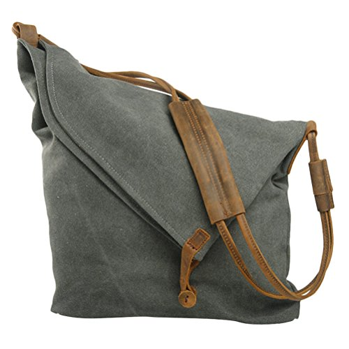 Zhhlaixing Borsa casuale Art Retro Canvas Package College Style Korean Version Shoulder Bag Messenger Bags for Men Women Dark Gray