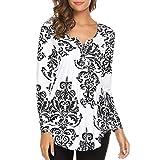UFACE Damen Long Sleeve Button Print T-Shirt Top Langarm O Neck Floral Tops Damen Casual Flare Tunika Bluse Shirt(Schwarz,EU/46CN/L)