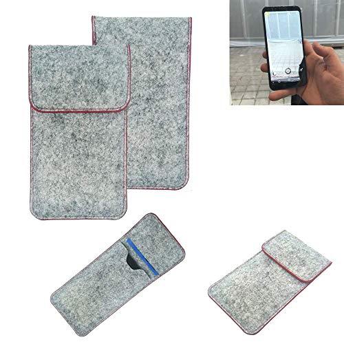 K-S-Trade® Filz Schutz Hülle Für -Energizer Powermax P600S- Schutzhülle Filztasche Pouch Tasche Case Sleeve Handyhülle Filzhülle Hellgrau Roter Rand