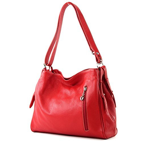 modamoda de - ital. Ledertasche Damentasche Umhängetasche Tasche Schultertasche Leder T119, Präzise Farbe:Rot