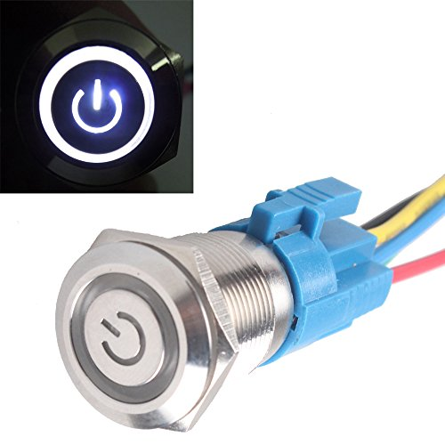 Mintice trade; KFZ Kippschalter Druckschalter Schalter Drucktaster Wippschalter 19mm 12V Weiß LED Licht Metall Buchse Stecker Draht -