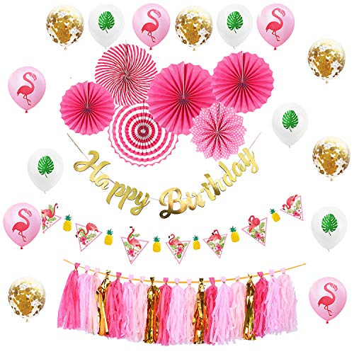 Sayala Sommer Geburtstagsfeier Dekoration, Alles Gute Zum Geburtstag Banner Girlande   Flamingo Ananas Banner   Hängende Papierfans    Luau Partyballons Flamingo-Partydekoration