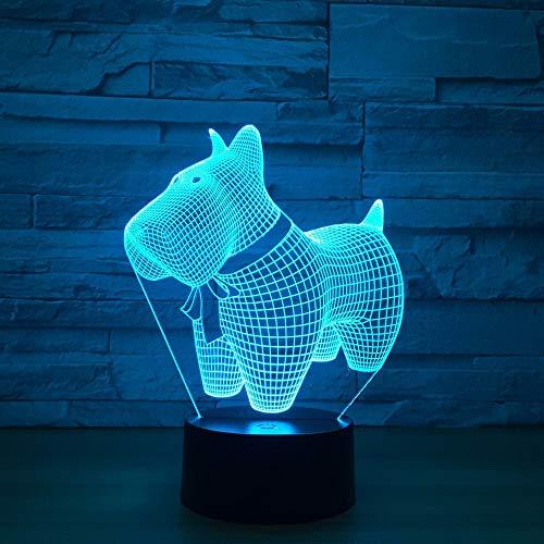 Rulaifozhu cute dog modello 3d illusion led light 7 cambia colore 3d animal vision led night lights per bambini giocattoli nuovo regalo desk desk lamp
