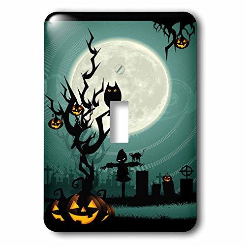 3drose LLC. l.s.p. 153147_ 1A SCARY Halloween Szene mit einem Kürbis, Haunted Baum unter einem Big moon-single Toggle Schalter, weiß (Halloween-bäume Scary)