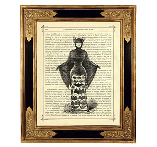 Vampir Dame Cape Kostüm Kunstdruck auf viktorianischer Buchseite Geschenk Halloween Gothic Steampunk ()