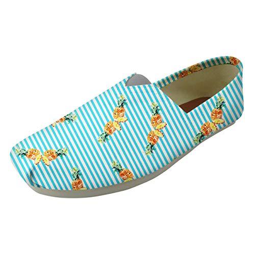 Fashion Print Slip On Shoes Women Canvas Upper Summer Breath Trainers Pump Shoe Blue Stripe UK 5