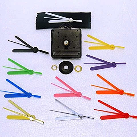 New Replacement Sweep ( Non Ticking Quiet) Quartz Clock Movement Mechanism Motor With 55mm Coloured Hands - DIY - Fittings - (Short- 13mm Total Spindle Length) (55mm Silver