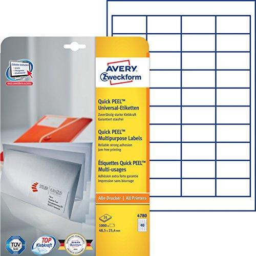 Preisvergleich Produktbild Avery Zweckform 4780 Universal Etiketten (mit ultragrip,  48, 5 x 25, 4 mm auf DIN A4,  Papier matt,  bedruckbar,  selbstklebend,  1.200 Klebeetiketten auf 30 Blatt) weiß