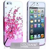 Yousave Accessories Silikon Blumen Biene Gel Schutzhülle für iPhone 5/5S, Pink/Weiß