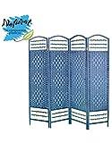 Hogar y Mas Biombo Azul Plegable Cuatro Puertas Madera Natural Diseño Original