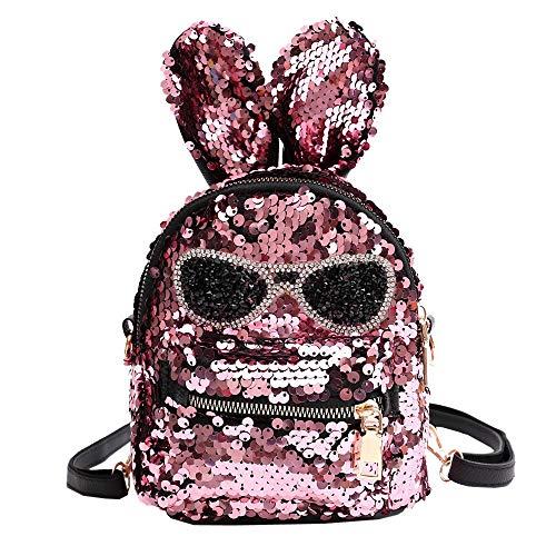 MOIKA Mode Mädchen Schultasche Umhängetasche, Kinder Coole Kaninchen Sonnenbrille Pailletten Tasche Student Reise Wandern Daypacks Rucksäcke für Kindergarten