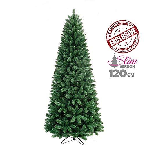 Trade shop traesio - albero di natale slim pino dei desideri altezza 120 cm base a croce 295 rami