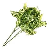 MagiDeal 2pcs Künstliche Blätter Deko Blätter Floristik Basteln für Rosenblätter Blumensträuße Hochzeit - Grün reich Blätter, 39cm