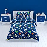 Bloomsbury Mill - Outer Space, Rocket & Planet - Kids Bedding Set - Blue - Single Duvet Cover & Pillowcase