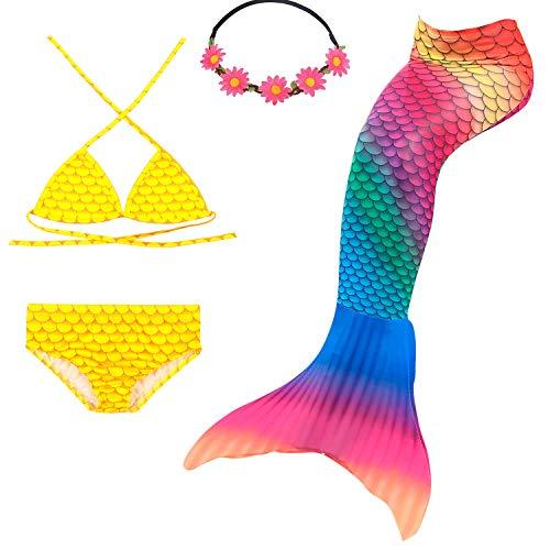 frau Bademode Mädchen Meerjungfrau Badeanzug Schwanzflosse Zum Schwimmen Kostüm Für Kinder, 7-8 Jahre, Meerjungfrau der Tropen ()
