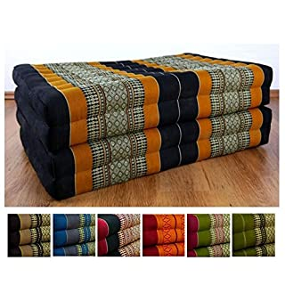 livasia Folding matress with 100% natural Kapok filling, day bed, foldable cushion, relaxation (black-orange)