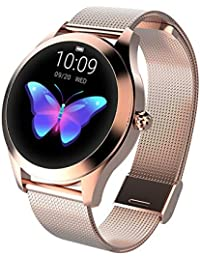 Watch, Smart Fashion Sports Heart Rate Monitor Multi-Function Measurement and Turning Wrist Bright Screen Waterproof Watch, Screen Size, 1.04 Inches, Ladies Universal (Rose Steel Strip)