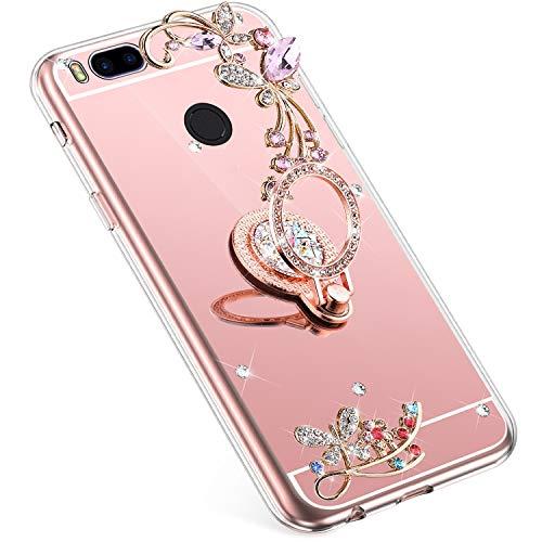 Uposao Kompatibel mit Xiaomi Mi A1 Handyhülle Strass Diamant Bling Glitzer Spiegel Schutzhülle Mirror Case Schmetterling Blumen Silikon Hülle Tasche mit Ring Halter Ständer,Rose Gold