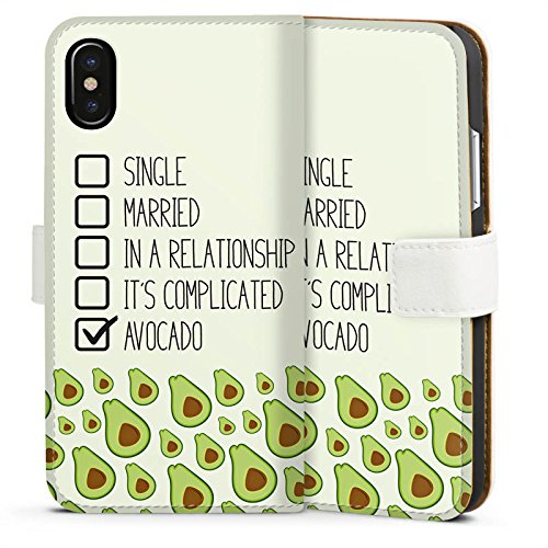 Apple iPhone X Silikon Hülle Case Schutzhülle Avocado Spruch Muster Sideflip Tasche weiß
