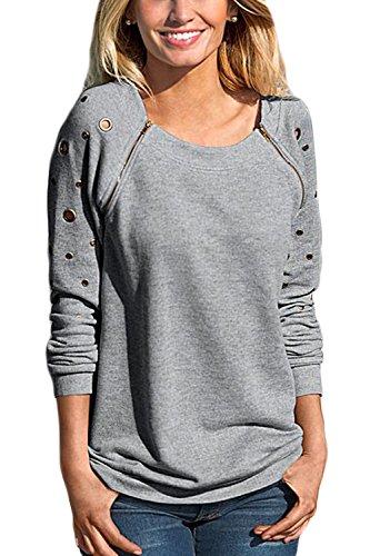 Le Monocolor Libero Eyelet Cerniere Top Scollato T - Shirt Felpe. Grey