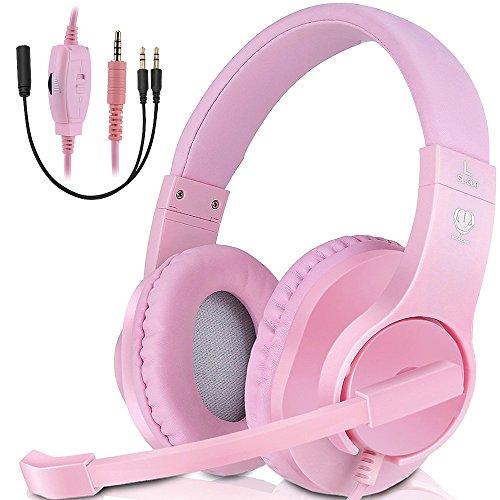 Gaming Headset, ohraufliegende Kopfhörer für PS4PC Xbox One Laptop Mac Geräuschunterdrückung Wired Gamer über Ohr Headset mit Mikrofon rosa Rose