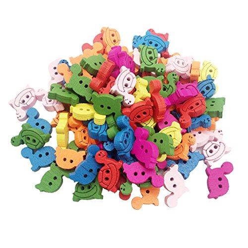 MagiDeal 100pcs Cute Mischfarbe Schildkröte Holz Knöpfe, Bunte Holzknöpfe, Kleine Holzknöpfe Zum Nähen Scrapbooking und DIY Craft