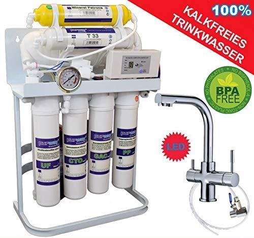 PUR Booster Quick 7 Stufen Umkehrosmose 400 GPD + 3-Wege Wasserhahn DELTA (Delta Trinkwasser Wasserhahn)
