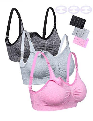 Aibrou Damen 3er Pack Still-BH Schwangerschaft Still BHS ohne Bügel Nahtlose Umstands BH Unterwäsche Maternity 3 Packer L -
