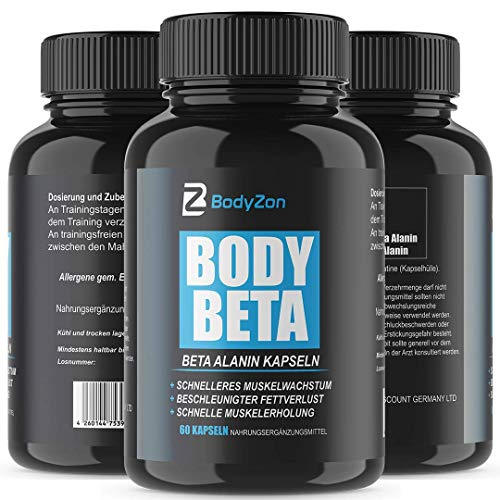 BodyZon Body Beta   Muskelaufbau   Testosteron Booster   60 Kapseln   hochdosiert   Beta Alanin   Bodybuilder   Fitness