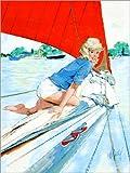 Posterlounge Leinwandbild 120 x 160 cm: Blondes Pin Up auf Segelboot von Al Buell - fertiges Wandbild, Bild auf Keilrahmen, Fertigbild auf echter Leinwand, Leinwanddruck
