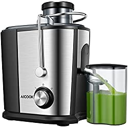 Entsafter, Aicook Zentrifugaler Entsafter, 65MM Breit Mund Edelstahl Entsafter Gemüse und Obst, Anti-Tropf-Funktion, BPA-frei, Rutschfeste Füße, Anti-Oxidation Saftmaschine mit Zwei Geschwindigkeiten