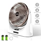 Powerful Desk Fan USB, 4000mAh Battery Operated Small Desk Fan, Portable Personal Mini Table Fan with USB Rechargeable Battery, Electric Fan for Office Outdoor Sport Household Traveling Camping