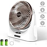 Powerful Desk Fan USB, 4000mAh Battery Operated Small Desk Fan, Portable Personal Mini Table Fan with USB Rechargeable Battery, Electric Fan for Office Outdoor Sport Household Traveling Camping, Brown