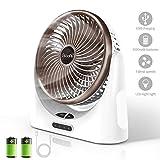 Powerful Desk Fan USB, 4000mAh Battery Operated Small Desk Fan, Portable Personal Mini