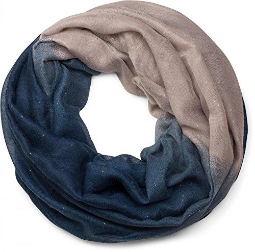 styleBREAKER belle écharpe snood brillante avec un dégradé de couleur, écharpe à paillettes, paillettes, écharpe, toile, pour femmes 01017033, couleur:Bleu foncé-beige